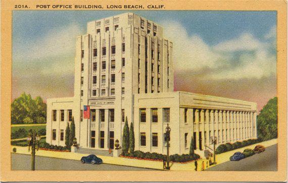 Long Beach Post Office Building California Postcard Unused