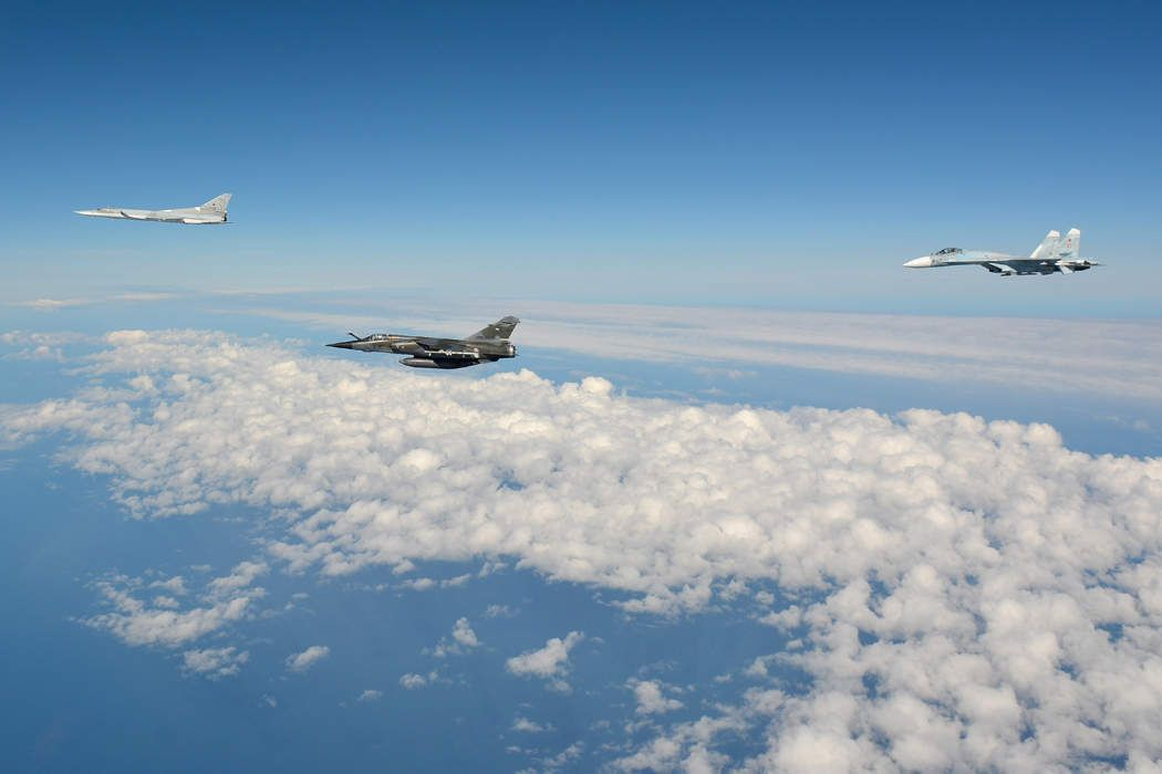 Baltic 2013 exercise between France & Russia. Sukhoi-24 Fencer,Dassault  Mirage F1 CR, Sukhoi-27 Flanker, over the Baltic Sea.