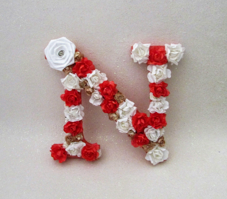 Custom letter N   Flower name letter   Floral letter N   Coral
