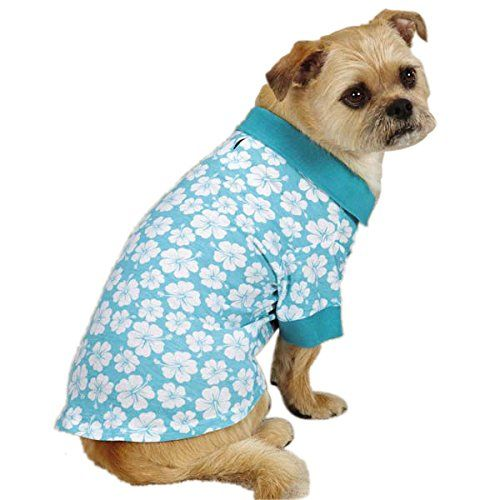 East Side Collection Polyester/Cotton Fruit Frenzy Hibiscus Dog Polo, X-Small, Blue >>> Trust me, this is great! Click the image. : Dog Shirts