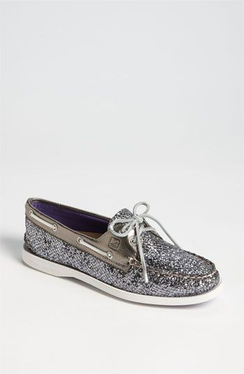 d85e8e992665 Sperry Top-Sider 'Authentic Original' Boat Shoe silver glitter. YES ...