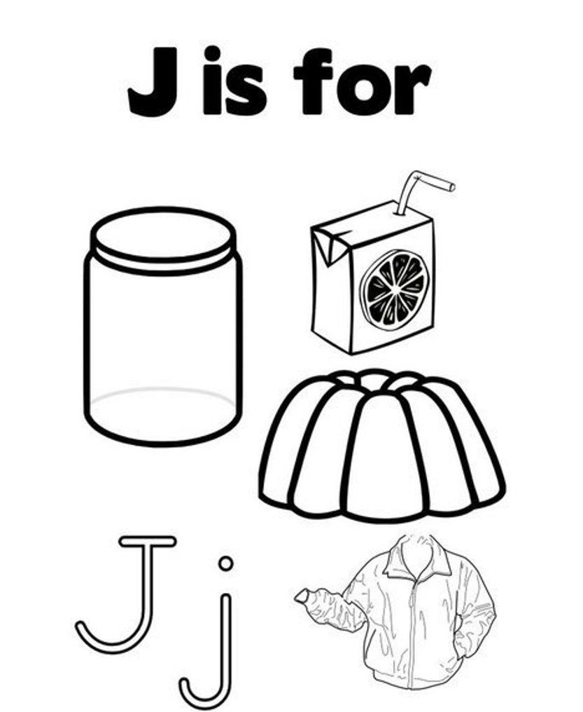 J Words Coloring Pages