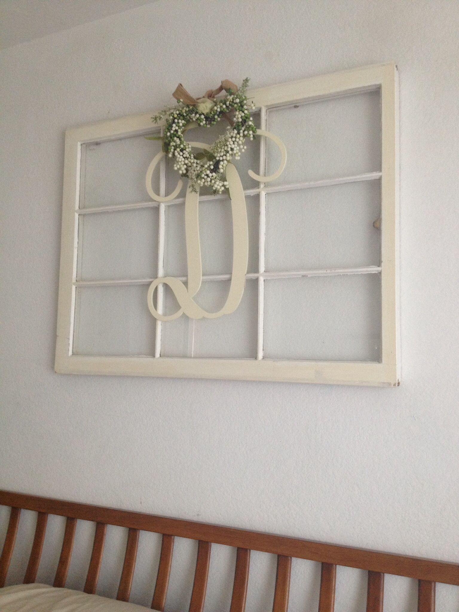 Window Pane Monogram Letter Shabbychic Window Pane