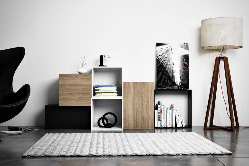 Moderne Wohnwand im Wohnzimmer mit Ikea Regalen gestalten