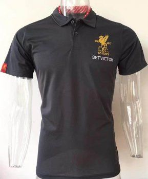 Liverpool FC 2017-18 Season Black LFC Polo Shirt  K445   e886358d8