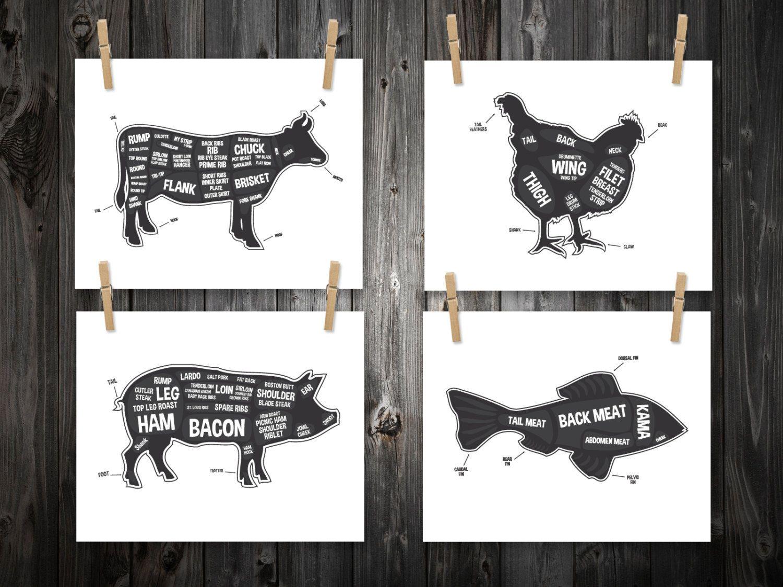 4 Butcher Diagram Prints, Cow, Pig, Fish, Chicken, Kitchen Print ...