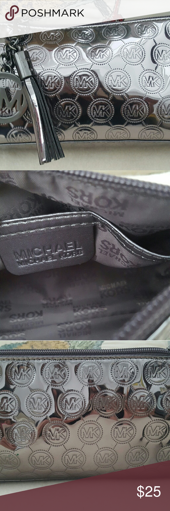 Michael Kors metalic cosmetic case Up for grabs is Michael Kors cosmetic case. Bag is in mint excellent,used condition and clean inside,no stains!! two packets inside the cosmatic case. Thanks for viewing ? Michael Kors Bags Cosmetic Bags & Cases