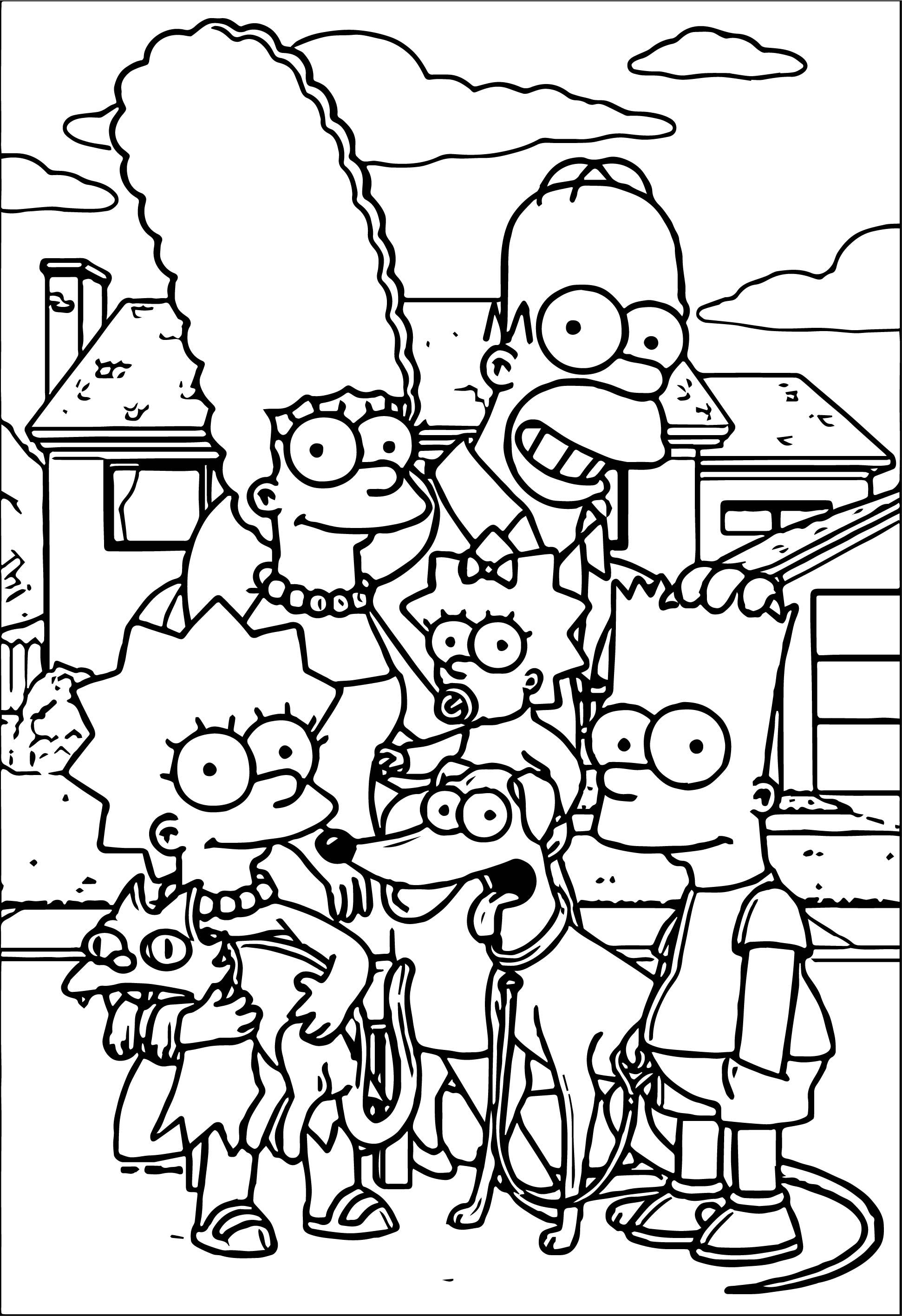 Nice Simpsons Family At Street Coloring Page Family Coloring