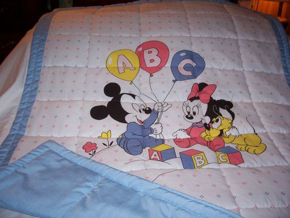 Baby Mickey Mouse And Pluto Cotton Baby/Toddler Quilt-NEWLY MADE ... : disney baby quilts - Adamdwight.com