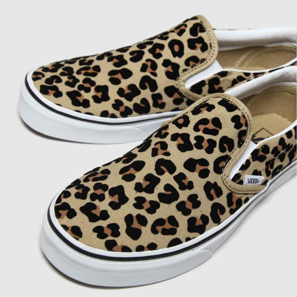 Womens Tan Vans Classic Slip-on Leo