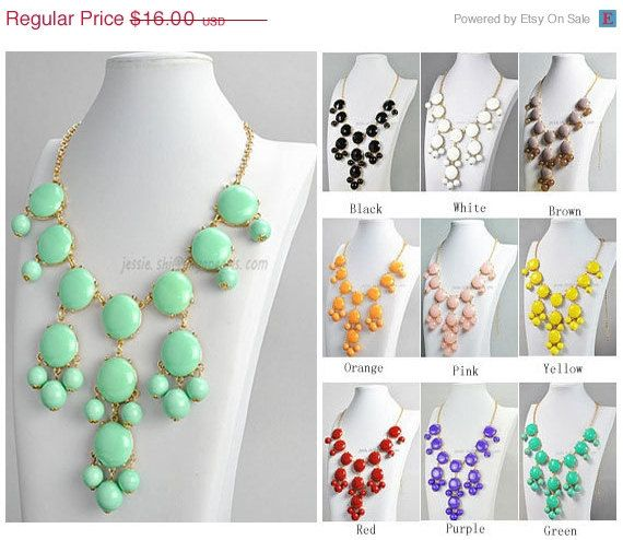 Bubble Bib Necklace,  Mint Bubble Necklace, Gold Tone Necklace, Bubble Necklace (FN0508-M-Mint)