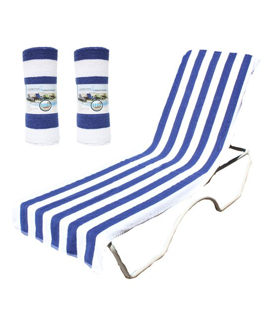 Blue Lounge Chair Beach Towel - Set of Two