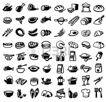 Pictogram Food Vector Black Food Icon Set On White
