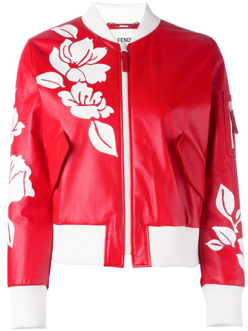 67593a79d Cómpralo ya!. Fendi - Floral Bomber Jacket - Women - Silk/Leather ...