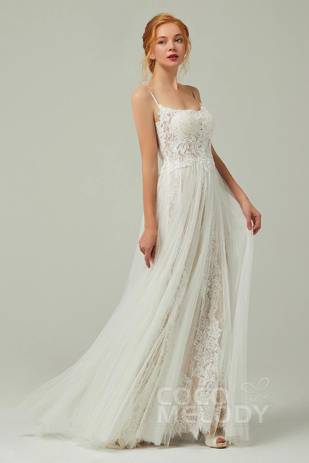 [ USD 599 ] Spaghetti Strap Open Back Wedding Dress