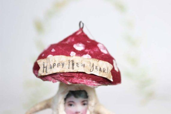 Happy New Year Antique inspired spun cotton Christmas ornament Mushroom Toadstool