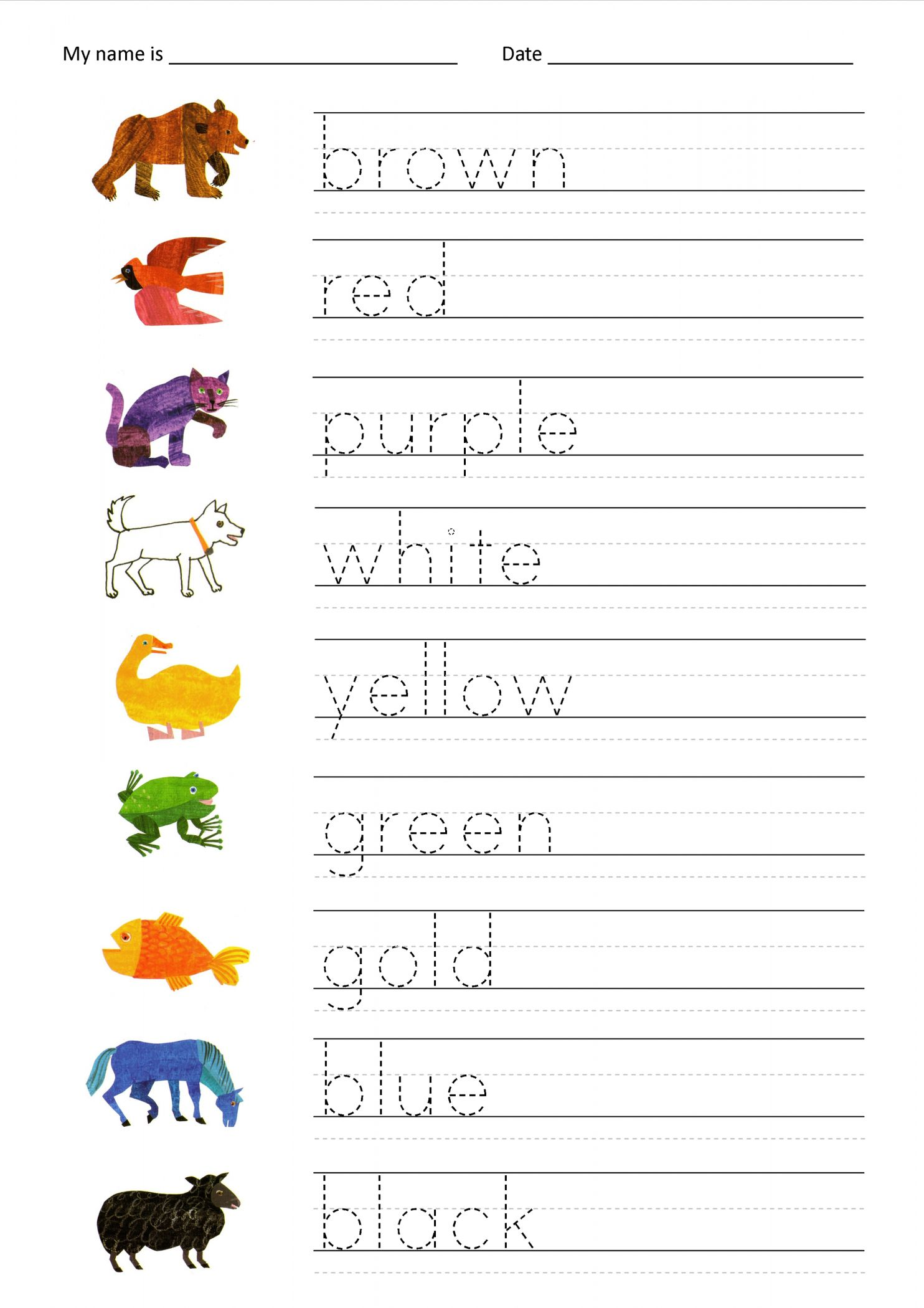 9 Name Worksheet For Kindergarten