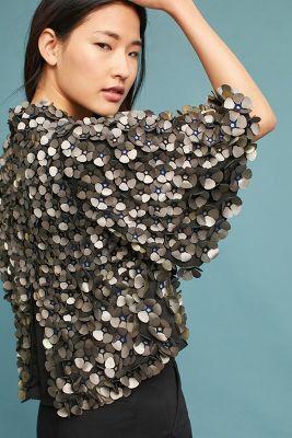 Floral Applique Shrug Sweater #shrugsweater