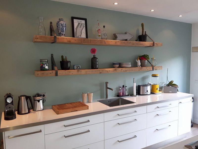Houten Wandplank Keuken.Wandplank Timber Met Stalen Dragers Keuken Ideeen