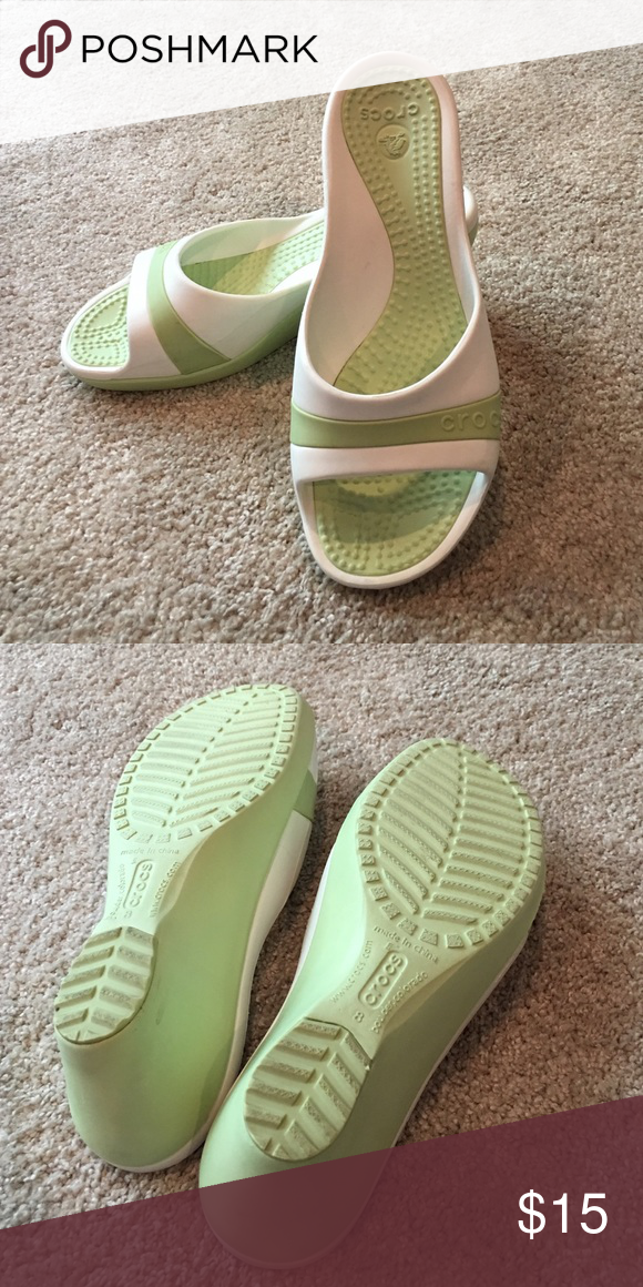 d68abd2ae Crocs wedges Celery green and white Crocs Sassari wedges. 3
