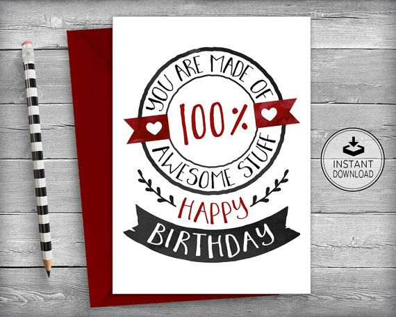 Birthday Card Happy Birthday Card Printable Card Instant - printable best friend birthday cards