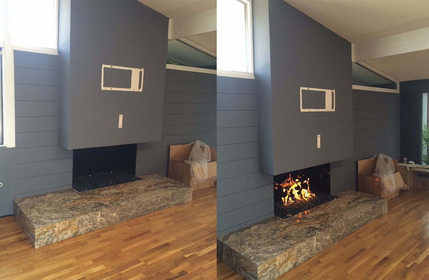 Beautiful Work Modern Fireplace Black Reflective Glass On The