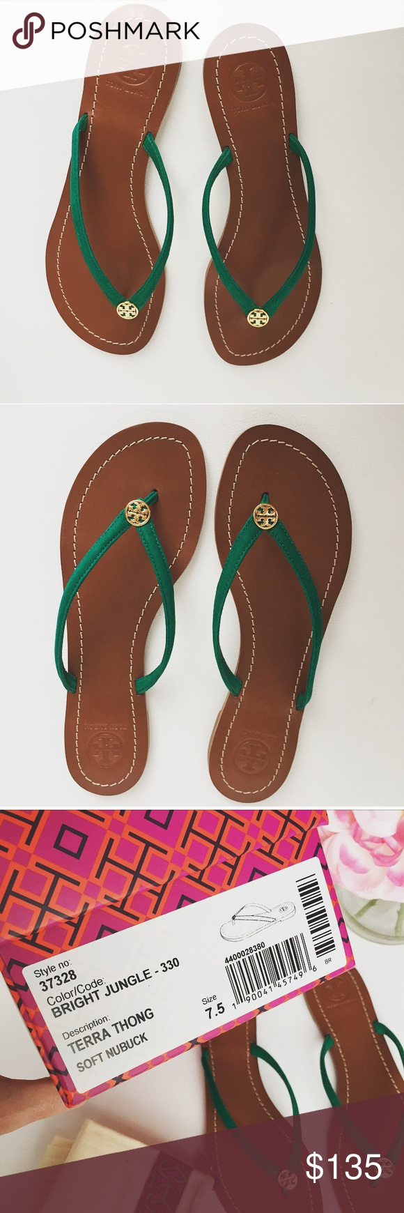 348451014470 New Tory Burch Bright Jungle Nubuck Terra Sandals A polished logo medallion  tops a stylishly casual