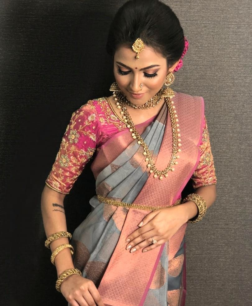 Friends Wedding Hairstyles Kerala: South Indian Bride. Indian Bridal Jewelry. Jhumkis.Pink