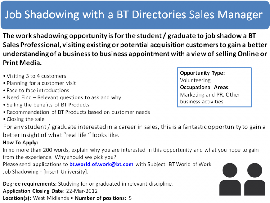 job shadowing with a bt directories sales manager