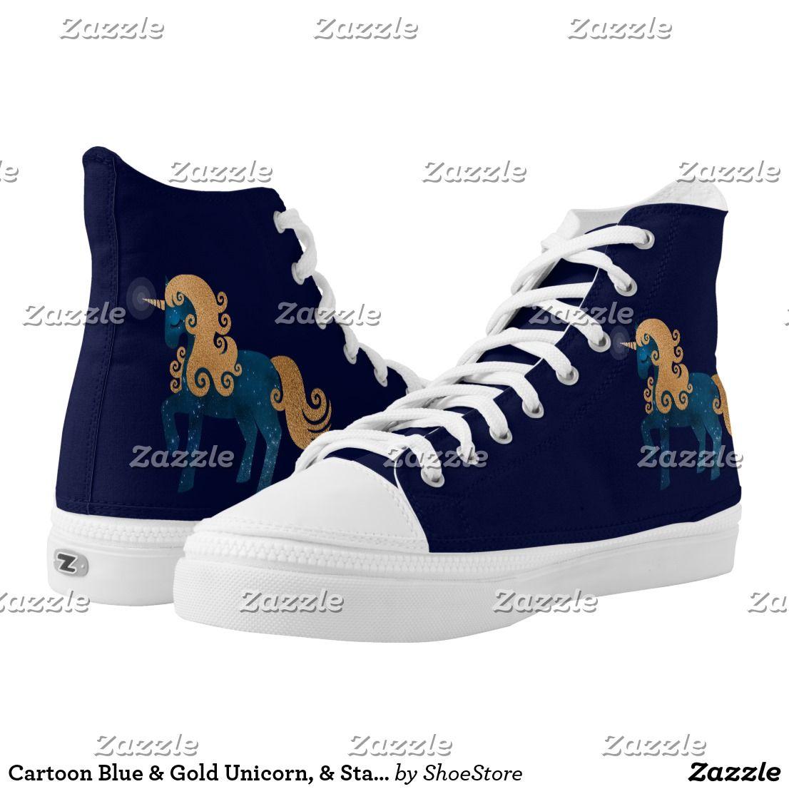 Cartoon Blue & Gold Unicorn, & Stars High Top Shoe | Top