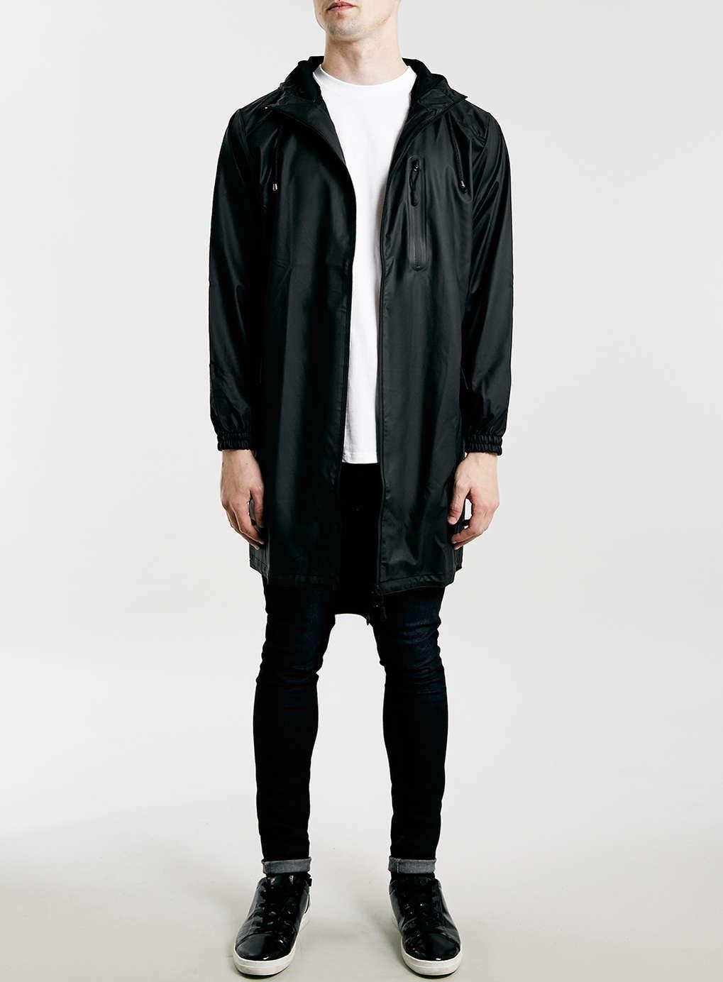 Rains Black Long Jacket