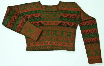 Knitted womans cardigan from Bjuråker, Hälsingland, dated