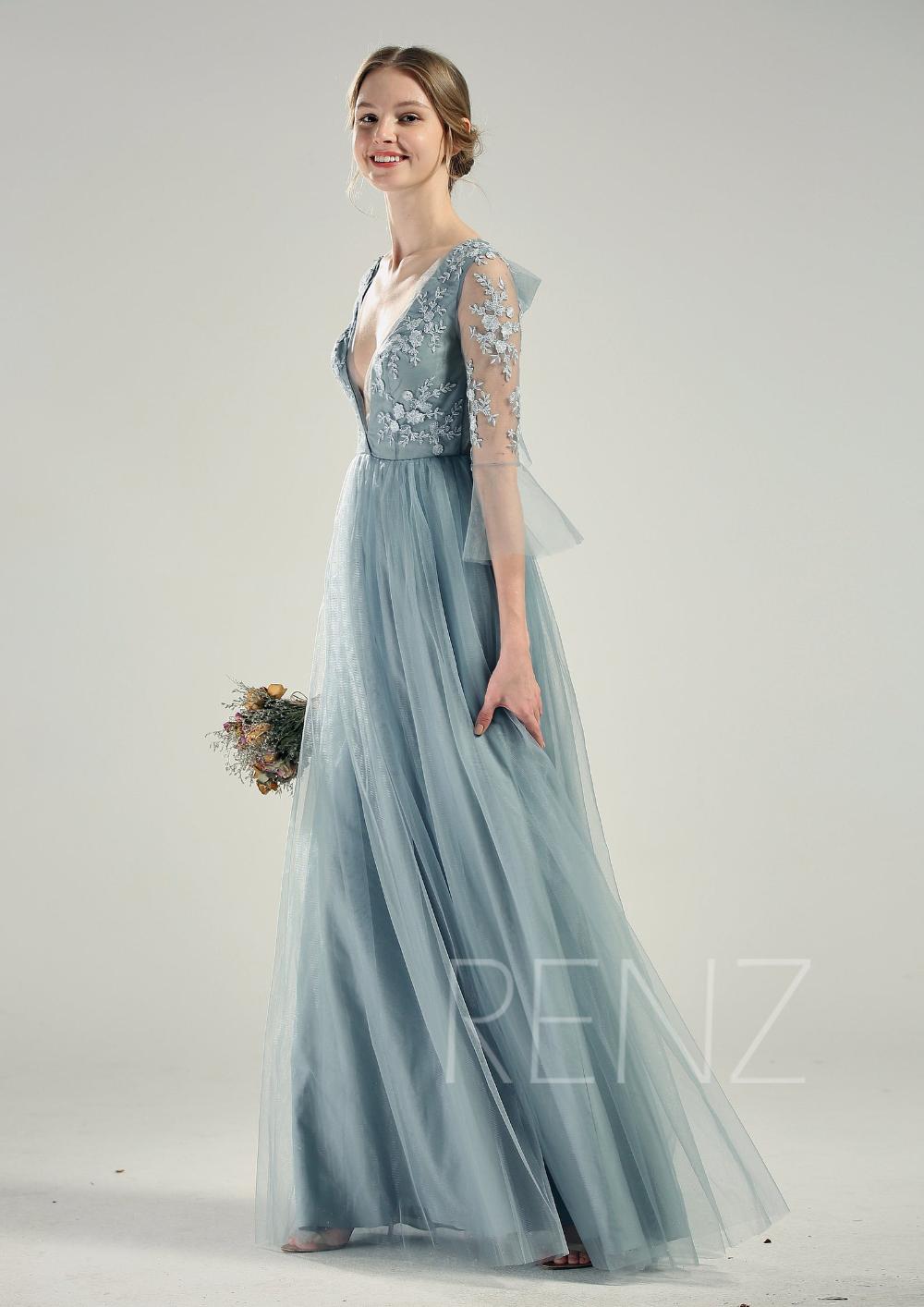 Blue Wedding Dress Long Sleeve Dusty Blue Bridesmaid Dress Etsy Dusty Blue Bridesmaid Dresses Blue Wedding Dresses Tulle Wedding Gown [ 1414 x 1000 Pixel ]