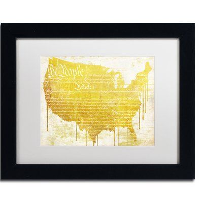 """Trademark Global 'American Dream II' by Color Bakery Framed Graphic Art Size: 11"""" H x 14"""" W x 0.5"""" D, Mat Color: White"""