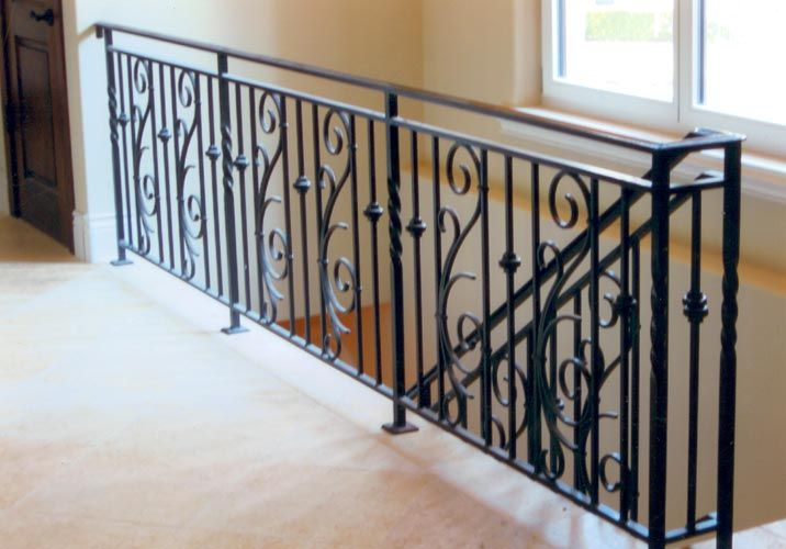 Wrought iron stair railings wrought iron interior for Indoor railing design