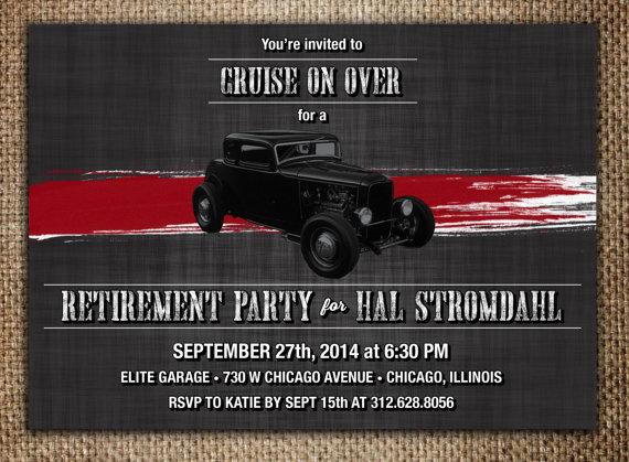 Retirement Party Invitation Hot Rod Mechanic Classic Car