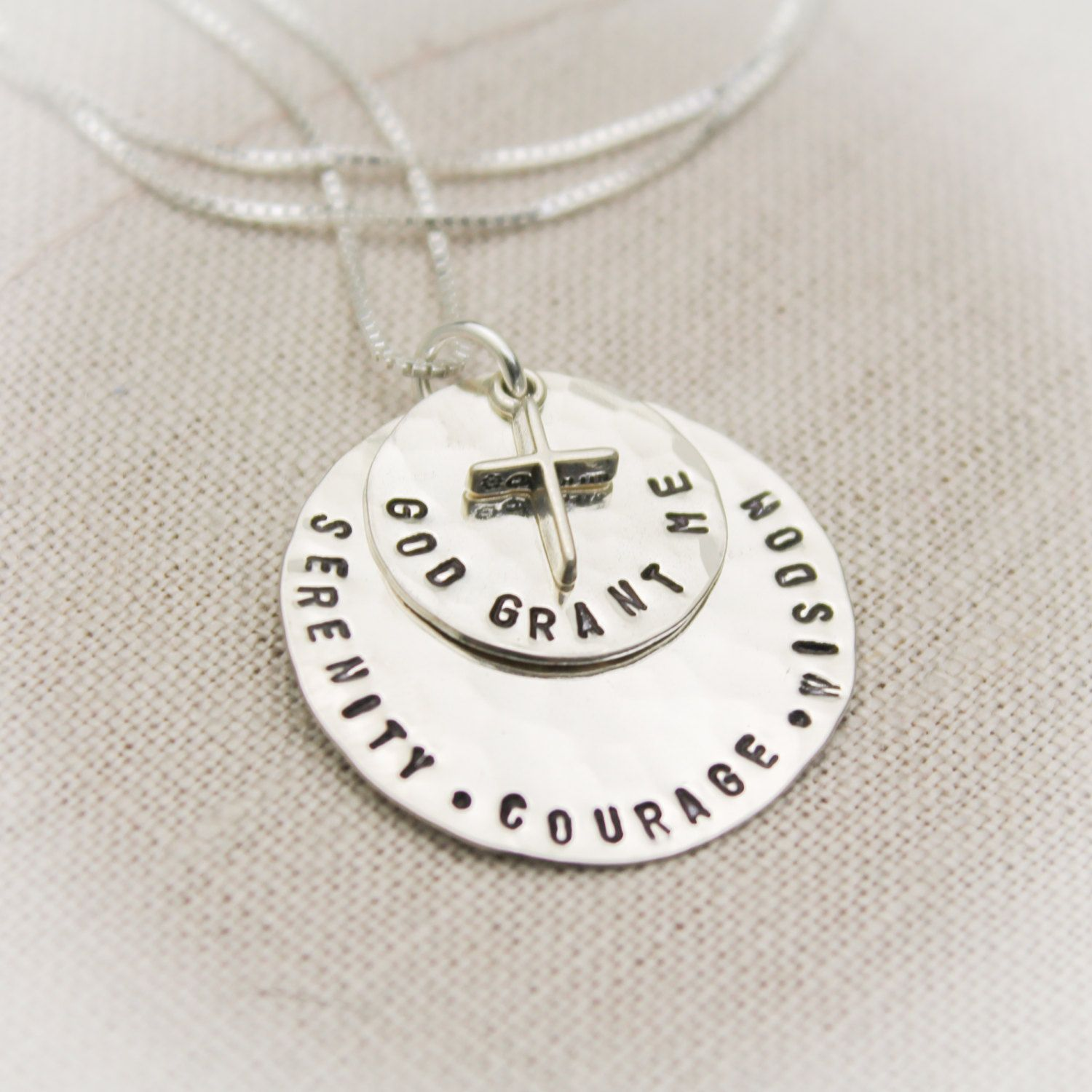 Serenity prayer pendant necklace in sterling silver with cross serenity prayer pendant necklace in sterling silver with cross charm hand stamped personalized 6195 mozeypictures Images