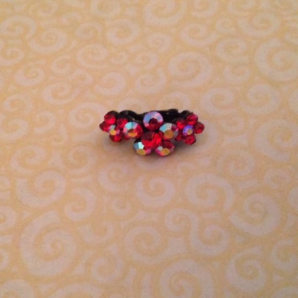 Darling little baby hair barrette! Single red stone flower barrette, hinge closure, never used! Accessories Hair Accessories