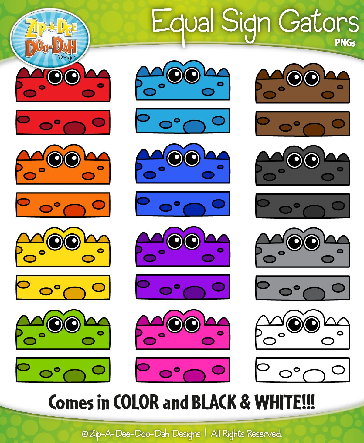 rainbow equal sign gator characters clipart includes 12 graphics  [ 1199 x 1461 Pixel ]