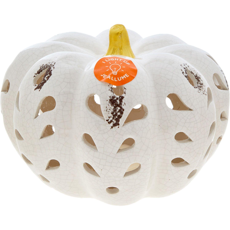 White Ceramic Pumpkin Ornament 16x21cm White Ceramic Pumpkins