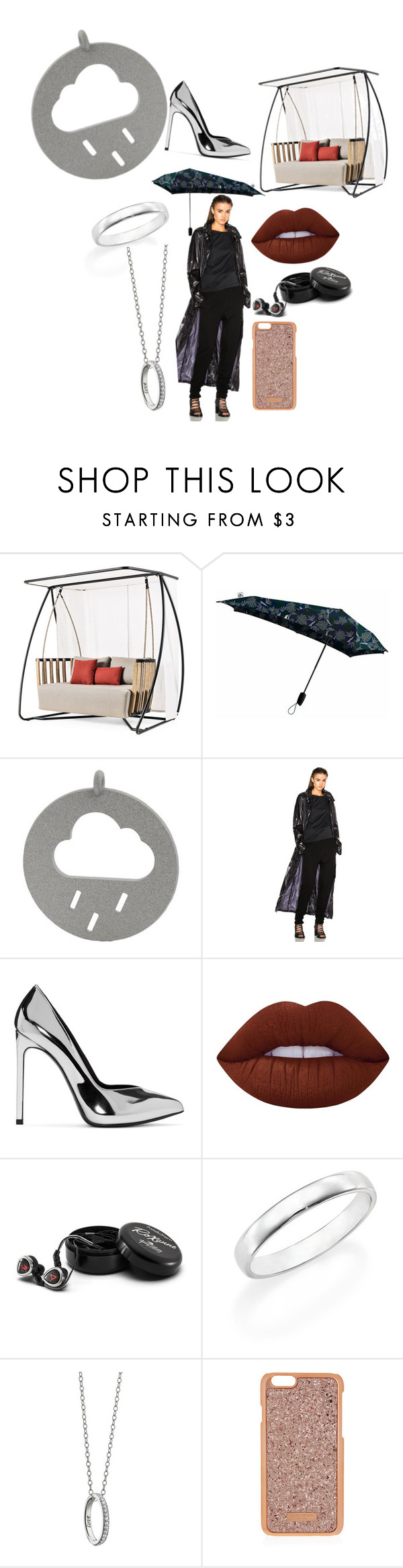 """RAIN MEMORIES"" by fabiolachance ❤ liked on Polyvore featuring Ethimo, Minimal, Ann Demeulemeester, Yves Saint Laurent, Lime Crime, Astell & Kern, De Beers, Monica Rich Kosann and Henri Bendel"