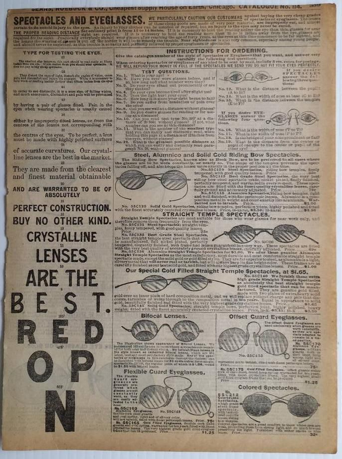 SPECTACLES eyeglasses reading bifocal temple eye 1905 Sears Catalogue vintage ad