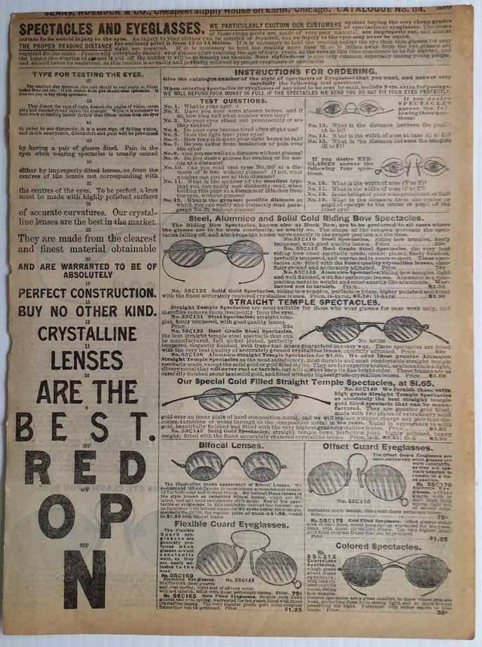 SPECTACLES eyeglasses reading bifocal temple eye 1905 Sears ...