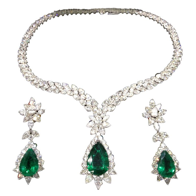 Pear Shape Emerald And Diamond Necklace Earring Set From A Unique Collection Of Vintage