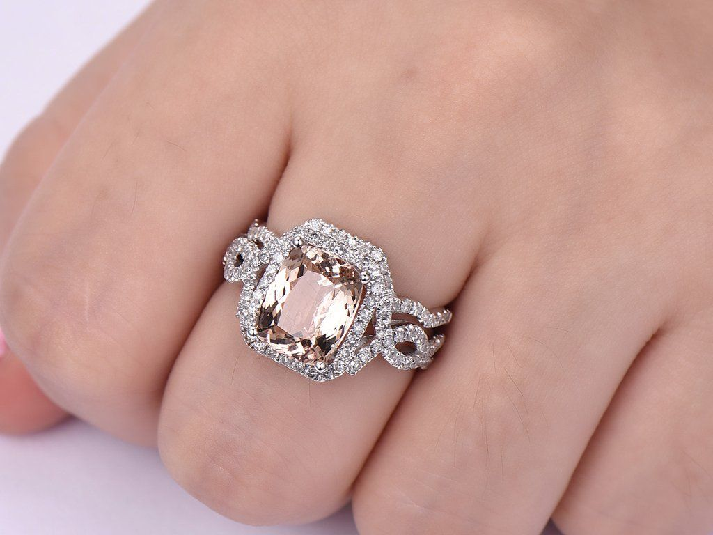 Cushion Morganite Ring Bridal Sets Contour Diamond Band 14K White ...