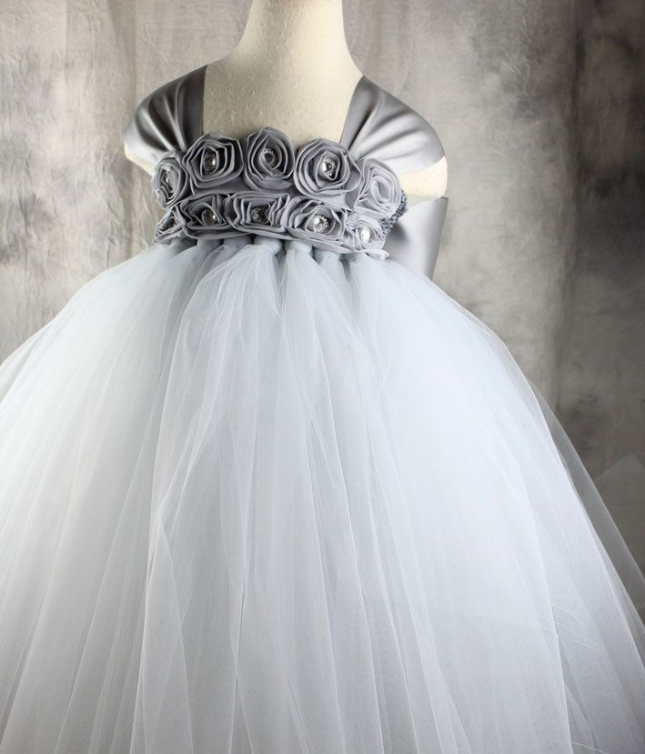 Grey silver flower girl dress tutu dress by vivilovelytutudress grey silver flower girl dress tutu dress by vivilovelytutudress 5800 mightylinksfo