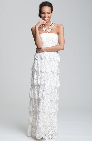 Sue Wong Tiered Strapless Mesh Gown Nordstrom Wedding