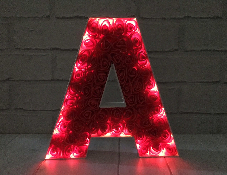 Red rose light up letter, Red bedroom decor, Irish wedding