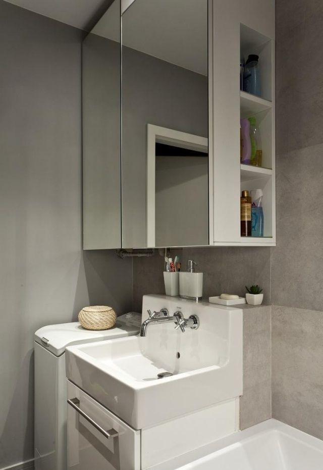 kleines bad ideen neutrale farben fliesen spiegelschrank - badezimmer waschtisch mit unterschrank
