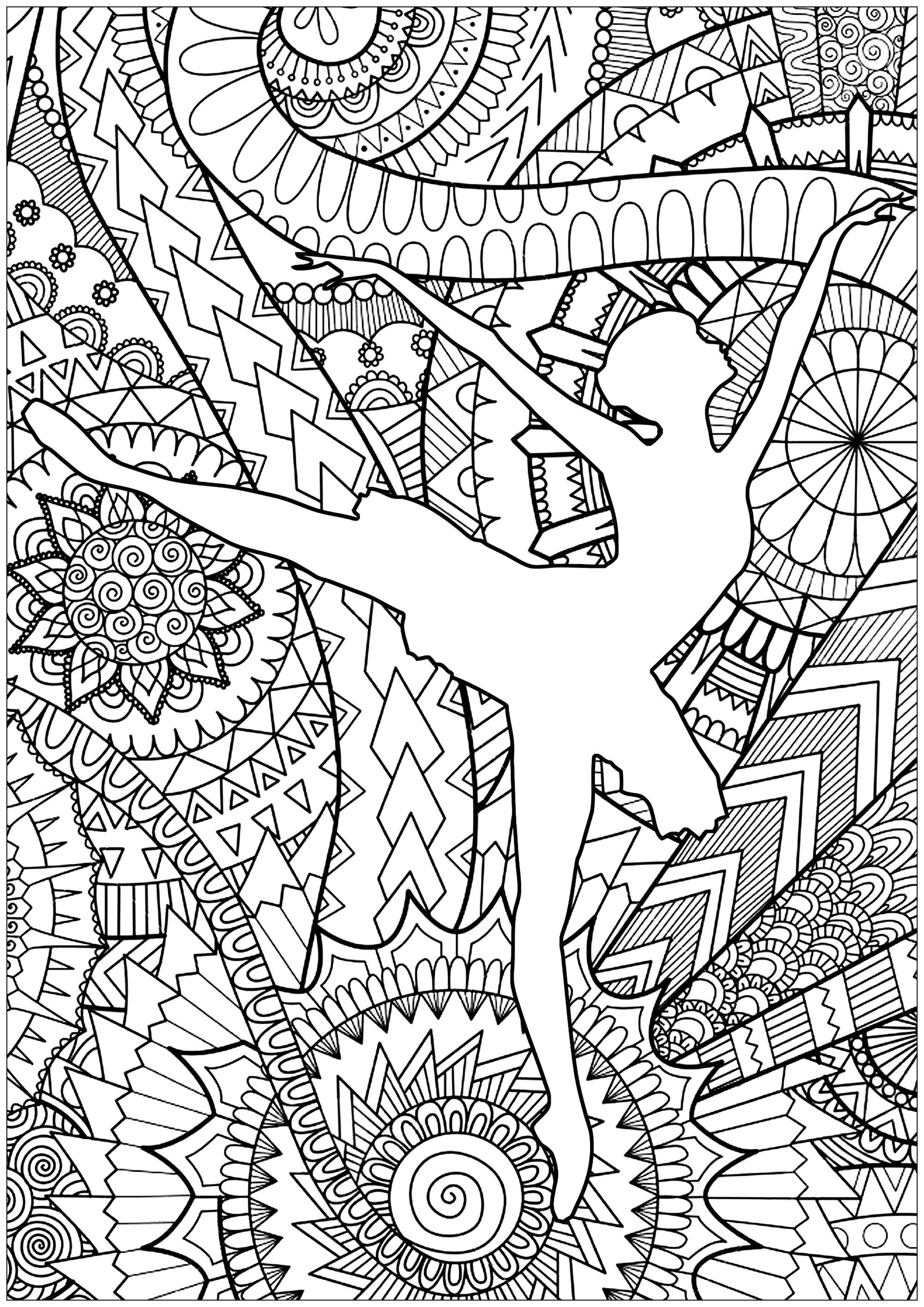 Ballet Dancer Beautiful Ballet Dancer Silhouette With Abstract And Lovely Patterns In Dance Coloring Pages Ballerina Coloring Pages Abstract Coloring Pages
